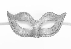 Silver Lace Covered Masquerade Mask   Venetian Style by SOFFITTA
