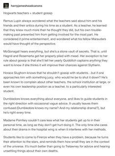 Hogwarts Teachers and gossip