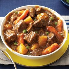Slow Cooker Beef Vegetable Stew Recipe -Come home to warm comfort food! This beef stew is based on my mom's wonderful recipe, but I adjusted it for the slow cooker. Add a sprinkle of Parmesan to each Best Slow Cooker, Slow Cooker Recipes, Beef Recipes, Cooking Recipes, Healthy Recipes, Fennel Recipes, Dishes Recipes, Lunch Recipes, Beef Tips