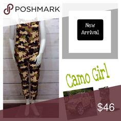 Discounted shipping !Camo Girl Jumpsuit Mannequin is a size 14. Material is 100% polyester. Jumpsuit has pockets, brown strings to tie around bust, braided spaghetti straps on shoulder, elastic stretch waistband and elastic near ankles. Boutique Pants Jumpsuits & Rompers