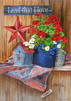 custom decor flag land that i love decorative flag at garden house flags at gardenhouseflags - Decorative House Flags