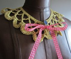 Lemon Yellow Collar Crochet Necklace Gingham by StringandBrocade, $30.00
