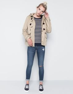 :SHORT COTTON DUFFLE COAT