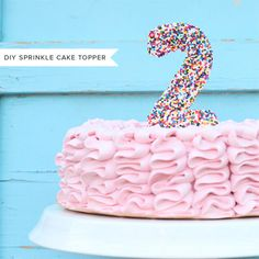 sprinkle topper and ruffle cake