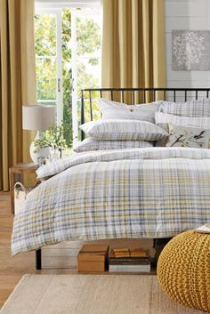 2 Pack Ochre Grey Check Bed Set from Next