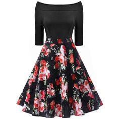 Celebrity Off Shoulder Floral Printed Midi Skater Dress ($37) ❤ liked on Polyvore featuring dresses, midi dress, floral midi dress, floral dresses, off the shoulder floral dress and floral skater dresses
