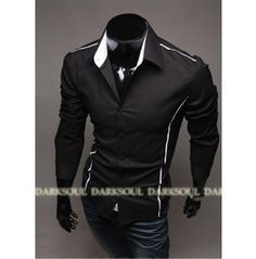 80af5194c5c4b Men s Longsleeve Shirts Mens Black Men Shirt Top Casual Long Sleeve
