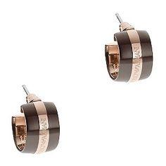 abd4e337a Ernest Jones - Emporio Armani rose gold plated stripe hoop earrings
