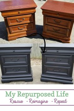 The perfect vintage black nightstands before and after furniture makeover diy Vintage Black Nightstands to match Passages bed Bedroom Furniture Makeover, Refurbished Furniture, Repurposed Furniture, Rustic Furniture, Cheap Furniture, Antique Furniture, Furniture Outlet, Diy Furniture Makeovers, Discount Furniture