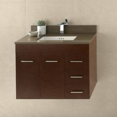 Buy the Ronbow Dark Cherry Direct. Shop for the Ronbow Dark Cherry Bella Hardwood Wall Mounted Vanity Cabinet Only with Left Hand Doors and save. 36 Vanity, Vanity Set With Mirror, Single Sink Bathroom Vanity, Wall Mounted Vanity, Vanity Cabinet, Vanity Ideas, Small Bathroom, Master Bathroom Vanity, Floating Vanity