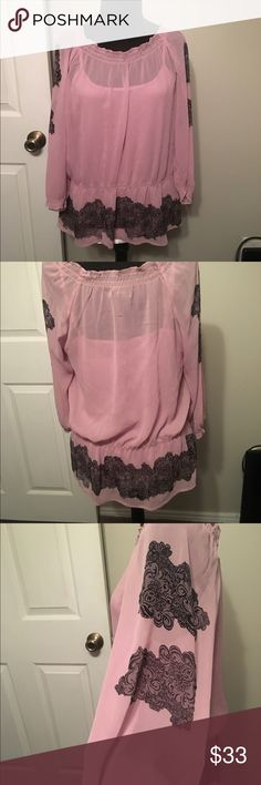 Dusty pink sheer blouse with Cami Gorgeous Apt 9 sheer dusty pink sheer blouse with cami. Size M. Cami has adjustable straps and has a small pull as show in pic but isn't visible when wearing under sheer blouse.Sleeves are gathered at the wrist and there is a banded bottom on the blouse. This is a beautiful shirt made of 100% Polyester. Tops Blouses