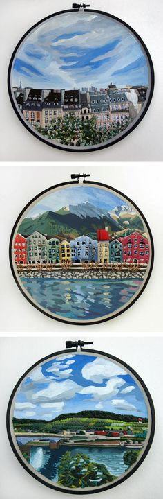 Mixed media embroidery by Libby Williams // hoop art // travel art // city art