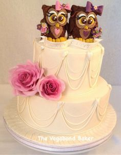 Owl Wedding cake - by TheVagabondBaker @ CakesDecor.com - cake decorating website