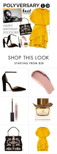 """Celebrate Our 10th Polyversary!"" by rachel ❤ liked on Polyvore featuring Gianvito Rossi, Burberry, Dolce&Gabbana, Marissa Webb, ruffles, polyversary, contestentry, happybirthdaypolyvore and besttrend"