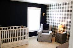 Black and White Nursery with Plaid Wallpaper