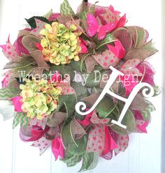 Summer Wreath-Hydrangea Initial Wreath-Front by WreathsbyDesign1