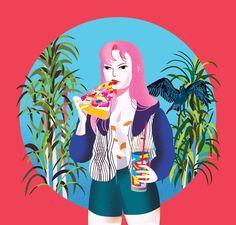 "jennliv: "" 'Pizza Girl' by Jenn Liv Be happy, eat radioactive pizza. Available on Society 6 and INPRNT! Pizza Girls, Postcard Printing, Communication Art, Poster Prints, Art Prints, Zine, Art Girl, Aurora Sleeping Beauty, Illustration Art"