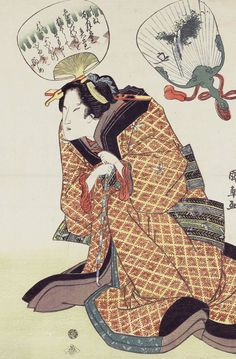 Beauty and fans. Ukiyo-e woodblock print, 2nd quarter 19th century, Japan, by artist Utagawa Kuninao.