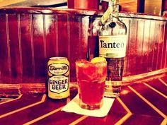 The Fiesta Bowl: ~2 oz. Tanteo Jalapeño Tequila ~3/4 oz. Creme de Cassis ~1/4 oz Simple Syrup ~1/4 Fresh Lime juice ~Barritt's Ginger Beer