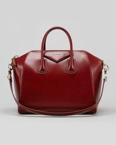 Givenchy Antigona Medium Box Satchel Bag, Burgundy - ...