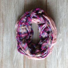 Pink Plaid and Polka Dot Infinity Scarf Loop Scarf by TheBlueDodo