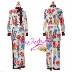 Boutique Pants S M White Multicolor Floral Bow Front Cropped Luxury Pants Suit #Boutique #PantSet