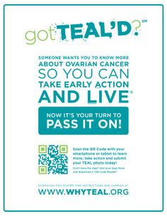 Ovarian Cancer Awareness ~ got teal'd? Ovarian Cancer Awareness, Cervical Cancer, Im A Survivor, Teal Ribbon, Cancer Fighter, Relay For Life, Cancer Support, Queen, Your Turn