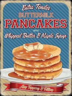 A5 A4 A3 A2 A1 AMERICAN DINER POSTER PANCAKES ART PRINT CAFE BISTRO PHOTO