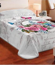 Prikryvka na postel s 3D efektom kvetov bielej farby (1)