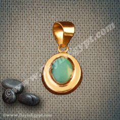 Egyptian 18K gold oval pendant with turquoise stone (Egyptian jewelry)