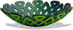 """Vermont's Mags Bonham has some techno tricks up her sleeve that she'll be teaching on Fridayevening at the Cabin Fever confab in Maryland. The polymer layers for this 4"""" green bowl were drawn on her computer and cut with her Silhouette machine.  Here she builds up contrasting laye"""