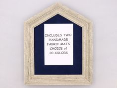 Doghouse Farmhouse Style Picture Frame with 20 Fabric Mat Color Choices. Driftwood Gray Rustic Frame for Photos and Prints. Unique Picture Frames, 8x10 Picture Frames, Fabric Tree, Rustic Hardware, Rustic Frames, Wood Molding, Fabric Pumpkins, Dog Houses, Vintage Wood