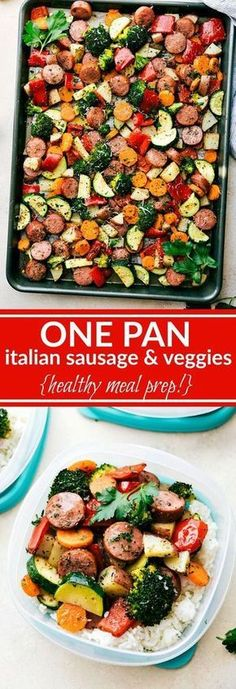 ONE PAN Healthy Italian Sausage & Veggies! Easy and delicious! Great MEAL PREP OPTION! via chelseasmessyapron.com Kung Pao Chicken, Pasta Salad, Italian Sausages, Crab Pasta Salad