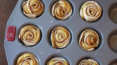 unbaked apple rolls in muffin pan