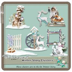 If you have bought the kit Winter Story be aware these clusters are in the kit. These are beautiful big clusters, you can use them to make cards to decorate your home or your childrens rooms. They are perfect to print and decorate boxes or books. Decorating Your Home, Digital Scrapbooking, You And I, Decorative Boxes, Childrens Rooms, Kit, Learning, Winter, Artist