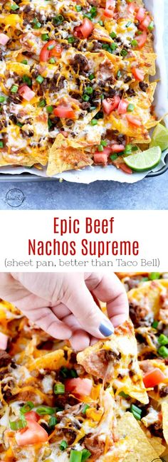 Epic Beef Nachos Supreme (Better Than Taco Bell) You need to make this epic beef nachos supreme at your next game day. Seasoned ground beef, refried beans, cheese, tomatoes and green onions make such a great flavor combination. Seafood Recipes, Mexican Food Recipes, Appetizer Recipes, Cooking Recipes, Healthy Recipes, Nacho Recipes, Ground Beef Recipes Mexican, Cheap Recipes, Skillet Recipes