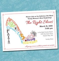 Print Yourself Invitation for New Beginnings, Night of Excellence, Shoe Typography, Young Women Value Colors, 5x7 or 4x6. $13.00, via Etsy.