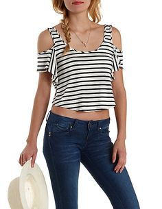 Striped Ruffle Cold Shoulder Crop Top: Charlotte Russe #stripes #croptop