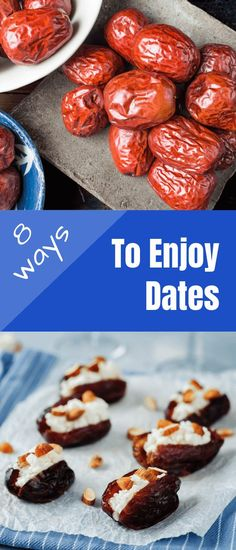 Wondering how to eat dates? Here are 8 great ideas for enjoying this sticky sweet fruit. From breakfast to dessert, here are yummy ways to eat dates. Get these delicious recipes and fall in love with dates! Paleo Dessert, Healthy Desserts, Just Desserts, Healthy Recipes, Delicious Recipes, Winter Desserts, Date Fruit Recipes, Sweets Recipes, Summer Recipes