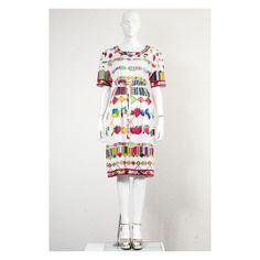 Fab vintage 1980s fruit & jewel print Leonard Paris dress with matching belt by VintageKabinet on Etsy