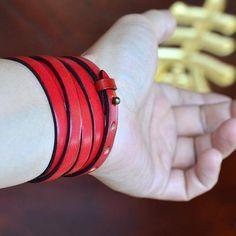Multi Loop Wrap Bracelet. Genuine waxed leather. Red. Black