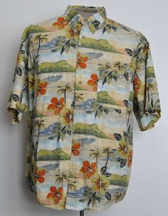 Crossings Shirt 2XLT Mens Hawaiian Multi-Color Floral 100% Cotton Short Sleeve  #Crossings #Hawaiian free shipping auction starting at $12.99