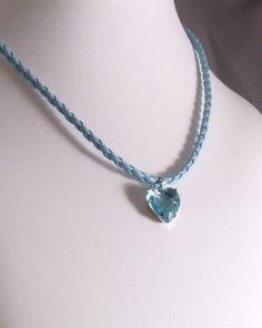 Rock Candy Aquamarine/Light Topaz Heart of Glass by MatriarchbyFP