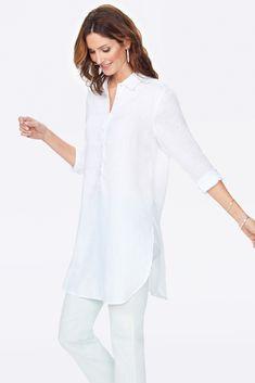 Tunic Blouse, Tunic Tops, Fashionable Plus Size Clothing, Cozy Clothes, Long Cut, White Button Down Shirt, White Tunic, Jeans Leggings, Trouser Pants