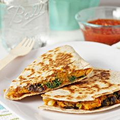 Sweet potato, black bean and kale quesadillas