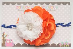 Orange and white mixed flower with braided by DanicasChicBowtique, $12.00