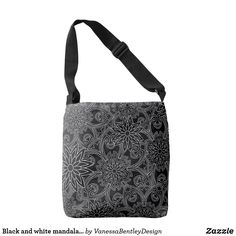 Shop Meri 05 tote bag created by Migned. Satchel, Crossbody Bag, Mandala Pattern, Edge Design, Messenger Bag, Reusable Tote Bags, Black And White, Stylish, Classic