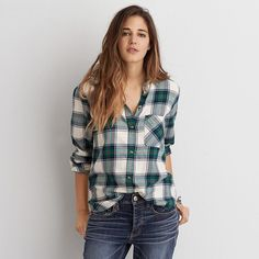 AEO Canyon Boyfriend Flannel ($40) ❤ liked on Polyvore featuring tops, ivory, ivory top, american eagle outfitters, boyfriend tank top, boyfriend top and button front tops