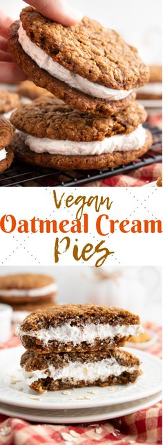 This simple vegan oatmeal cream pie recipe is soft, sweet, chewy and delicious! Spiced oatmeal cookies with a fluffy and creamy vanilla frosting in between! The Yummiest Vegan Oatmeal Cream Pies Vegan Treats, Vegan Foods, Vegan Dishes, Vegan Pie, Desserts Végétaliens, Vegan Dessert Recipes, Healthy Vegan Desserts, Healthy Food, Yummy Vegan Recipes