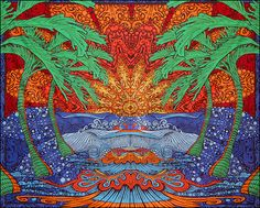 Sunshine Joy Epic Tropical Paradise Surf Wave Palm Tree Tapestry Tablecloth Beach Sheet Wall Art x 90 Inches, Glow in The Dark) Tapestry Beach, Mandala Tapestry, Wall Tapestry, Tapestry Bedroom, Trippy Store, Celtic Mandala, Sunset Surf, Beach Blanket, Tropical Paradise